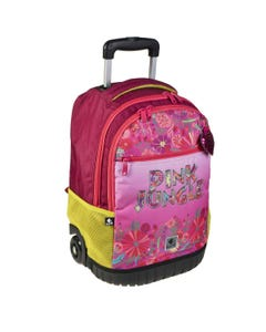 """Busquets Backpack Double trolley 21in, PINK JUNGLE """" Dim 34,0 x 54,0 x 26,0 cm """""""
