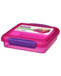 Sandwich Box Colored 450 ml- Pink-qatar