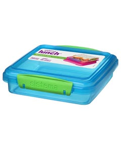 Sandwich Box Colored 450 ml- Blue-qatar