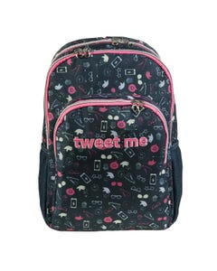 "Backpack Double  17.5 inch TWEET ME "" Dim 30,0 x 45,0 x 15,0 cm ""-qatar"