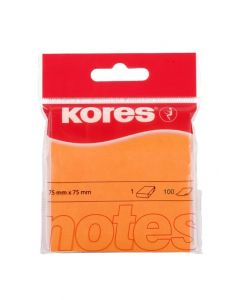 Kores Notes 75x75mm Neon Orange block of 100 sheets