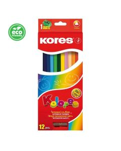 Kores KOLORES triangular 3mm with name field 12 pencils and sharpener