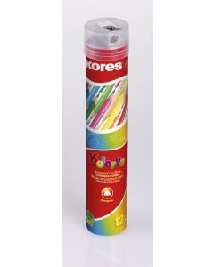 Kores KOLORES TIN TUBE triangular 3mm 12 pencils with name field and sharpener