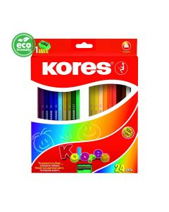 Kores KOLORES triangular 3mm with name field 24 pencils and sharpener
