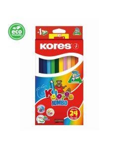 Kores KOLORES JUMBO triangular 5mm with name field 24 pencils and jumbo sharpener