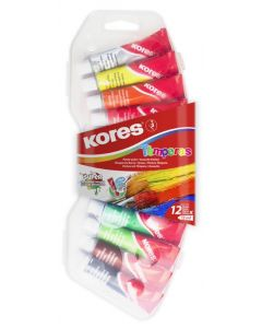 Kores TEMPERAS in tubes 12ml Set box with 12 colour pencils