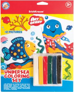 Coloring set ArtBerry Undersea soft modelling clay set of 6 colors with 2 coloring pictures