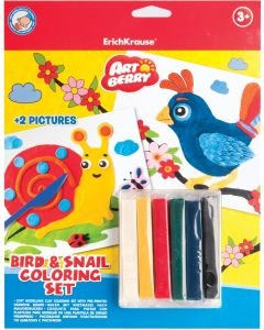 Soft modelling clay ArtBerry Bird & Snail set of 6 colors with 2 coloring pictures