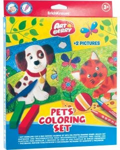 Soft modelling clay  Pets 6 colors with wax crayons set of 8 colors and 2 coloring pictures