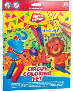 Soft modelling clay  Circus 6 colors with wax crayons set of 8 colors and 2 coloring pictures