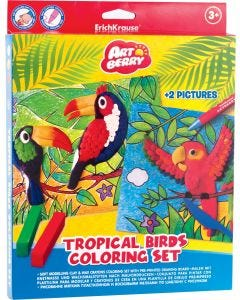 Soft modelling clay Tropical Birds 6 colors with wax crayons 8 colors and 2 coloring pictures