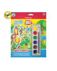 3D puzzles ArtBerry Butterfly 2 pcs. with 3D models and watercolors set of 6 colors