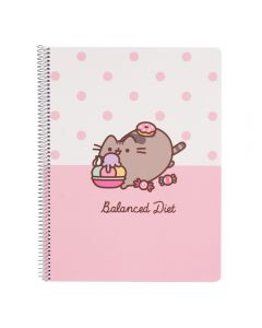 PUSHEEN ROSE COLLECTION SPIRAL NOTEBOOK A4 POLYPROPYLENE COVER Ruled 80 pages