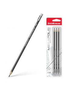 Graphite triangular pencil with eraser ErichKrause MEGAPOLIS HB(3 pcs in blister)