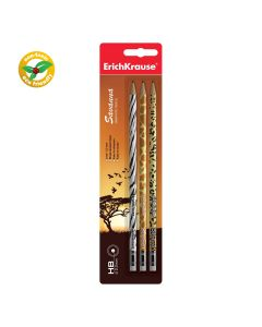 Graphite round section pencil with eraser ErichKrause Savanna HB(3 pcs in blister)
