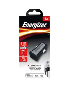 ENERGIZER CAR CHARGER 1A +LIGHTNING CABLE BLACK/ DCA1ACLB3